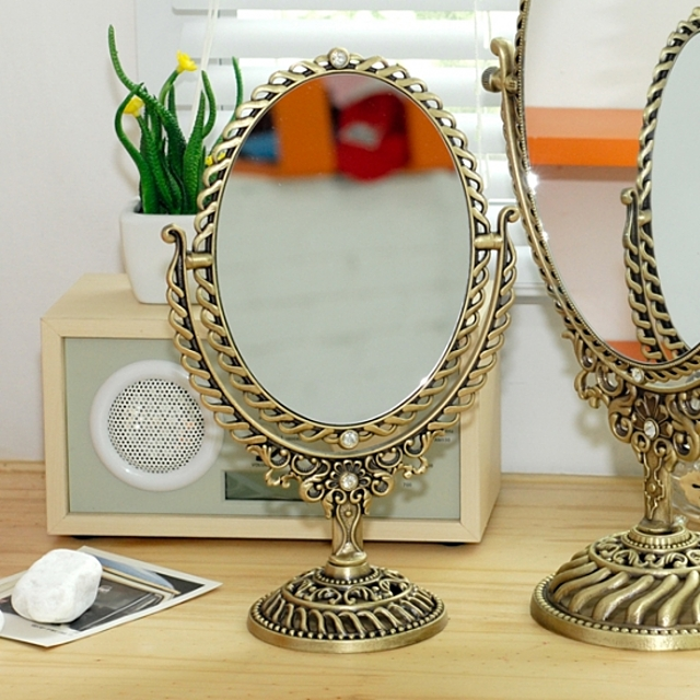 파도 탁상거울 (중) 신주  (탁상거울.화장거울.책상거울.예쁜탁상거울.메이크업거울)